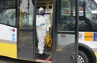 Gemlik'te toplu taşıma araçları dezenfekte ediliyor
